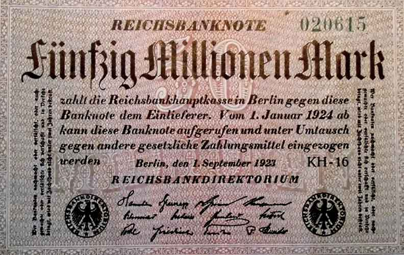 Deutsche Hyperinflation zwischen 1919 und 1923. Ein Ei kostete 320 Milliarden Reichsmark.
